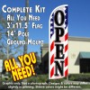 Open (Patriotic Waves) Windless Feather Banner Flag Kit (Flag, Pole, & Ground Mt)
