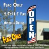 Open (Patriotic) Windless Feather Banner Flag (2.5 x 11.5 Feet)