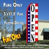 OPEN (Stars & Stripes) Flutter Polyknit Feather Flag (11.5 x 2.5 feet)