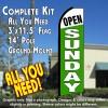OPEN SUNDAY (White/Green) Flutter Feather Banner Flag Kit (Flag, Pole, & Ground Mt)