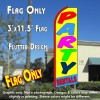 PARTY RENTALS (Yellow/Blue) Flutter Feather Banner Flag (11.5 x 3 Feet)