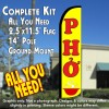 PHO (Yellow) Windless Feather Banner Flag Kit (Flag, Pole, & Ground Mt)