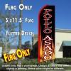POLLO ASADO (Black/Flames) Flutter Feather Banner Flag (11.5 x 3 Feet)