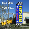 QUALITY USED CARS (Blue/Checkered) Flutter Feather Banner Flag (11.5 x 3 Feet)