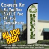 Recycle Windless Feather Banner Flag Kit (Flag, Pole, & Ground Mt)