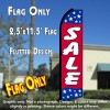 SALE (Blue/Red/Stars) Flutter Polyknit Feather Flag (11.5 x 2.5 feet)