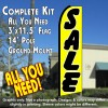 Sale (Yellow/Black) Windless Feather Banner Flag Kit (Flag, Pole, & Ground Mt)