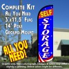 SELF-STORAGE (Red/White/Blue) Windless Feather Banner Flag Kit (Flag, Pole, & Ground Mt)