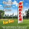 Shells (Beach/Red Letters) Flutter Feather Flag Only (3 x 11.5 feet)