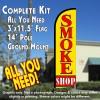 Smoke Shop Windless Feather Banner Flag Kit (Flag, Pole, & Ground Mt)