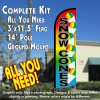 Snow Cones Windless Feather Banner Flag Kit (Flag, Pole, & Ground Mt)