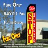 STOP SALE (Yellow/Red) Flutter Polyknit Feather Flag (11.5 x 2.5 feet)