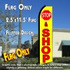 STOP & SHOP (Yellow/Red) Flutter Polyknit Feather Flag (11.5 x 2.5 feet)