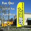 SUBWAY (Yellow) Flutter Feather Banner Flag (11.5 x 3 Feet)