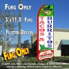 TACOS & BURRITOS (White/Green Chili) Flutter Feather Banner Flag (11.5 x 3 Feet)