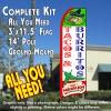 TACOS & BURRITOS (White/Green Chili) Flutter Feather Banner Flag Kit (Flag, Pole, & Ground Mt)