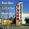 Tacos & Burritos (White) Windless Polyknit Feather Flag (3 x 11.5 feet)
