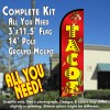 Tacos (Red) Windless Feather Banner Flag Kit (Flag, Pole, & Ground Mt)