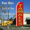 TAMALES (Red) Flutter Feather Banner Flag (11.5 x 3 Feet)