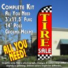 Tire Sale (Red/Checkered) Windless Feather Banner Flag Kit (Flag, Pole, & Ground Mt)