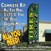 TIRES SALE (Green) Flutter Feather Banner Flag Kit (Flag, Pole, & Ground Mt)