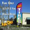 Tires Sale (Red/Multicolor) Windless Polyknit Feather Flag (2.5 x 11.5 feet)