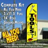 TOOLS (Yellow) Flutter Feather Banner Flag Kit (Flag, Pole, & Ground Mt)