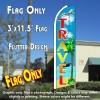 Travel Flutter Feather Banner Flag (11.5 x 3 Feet)