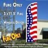 US Flag Pattern (Horizontal Waves) Windless Polyknit Feather Flag (3 x 11.5 feet)