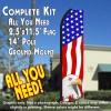 USA AMERICAN EAGLE Flutter Feather Banner Flag Kit (Flag, Pole, & Ground Mt)