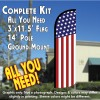 USA FLAG (Pattern/Vertical) Windless Feather Banner Flag Kit (Flag, Pole, & Ground Mt)