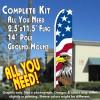 USA NEW GLORY (Eagle) Flutter Feather Banner Flag Kit (Flag, Pole, & Ground Mt)