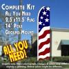 USA NEW GLORY Flutter Feather Banner Flag Kit (Flag, Pole, & Ground Mt)