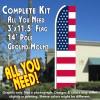 USA OLD GLORY (Flag Pattern) Flutter Feather Banner Flag Kit (Flag, Pole, & Ground Mt)
