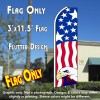 USA PATRIOTIC (Eagle) Flutter Feather Banner Flag (11.5 x 3 Feet)