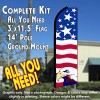 USA PRIDE (Eagle) Flutter Feather Banner Flag Kit (Flag, Pole, & Ground Mt)