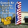USA STAR SPANGLED Flutter Feather Banner Flag Kit (Flag, Pole, and Ground Mount)