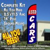 USED CARS (Red/Blue) Windless Feather Banner Flag Kit (Flag, Pole, & Ground Mt)