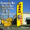 USED TIRES (Yellow) Flutter Feather Banner Flag Kit (Flag, Pole, & Ground Mt)