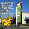 WAXING (White) Flutter Feather Banner Flag Kit (Flag, Pole, & Ground Mt)