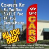 We Buy Cars (Red/Yellow) Windless Feather Banner Flag Kit (Flag, Pole, & Ground Mt)