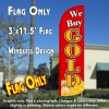 We Buy Gold (Red/Gold/Coins) Windless Polyknit Feather Flag (3 x 11.5 feet)