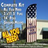 We Support Our Troops (Vintage) Windless Feather Banner Flag Kit (Flag, Pole, & Ground Mt)
