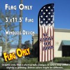 We Support Our Troops (Vintage) Windless Polyknit Feather Flag (3 x 11.5 feet)