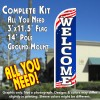 Welcome (Patriotic) Windless Feather Banner Flag Kit (Flag, Pole, & Ground Mt)