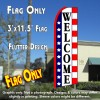 WELCOME (Stars & Stripes) Flutter Feather Banner Flag (11.5 x 3 Feet)
