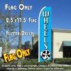 WHEELS (Blue) Flutter Feather Banner Flag (11.5 x 2.5 Feet)