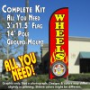 Wheels (Red) Windless Feather Banner Flag Kit (Flag, Pole, & Ground Mt)