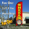 Wheels (Red) Windless Polyknit Feather Flag (3 x 11.5 feet)