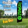 ZUMBA FITNESS Black and Green Flutter Feather Flag Only
